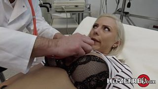 Beautiful German blonde with big tits gets pounded by her doctor and his big dick