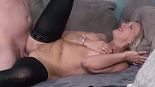 Blonde German mom loves having her pussy fucked by y. guys